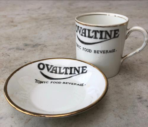 Early 20thC Small Advertising Cup & Saucer - Ovaltine Tonic Food Bever