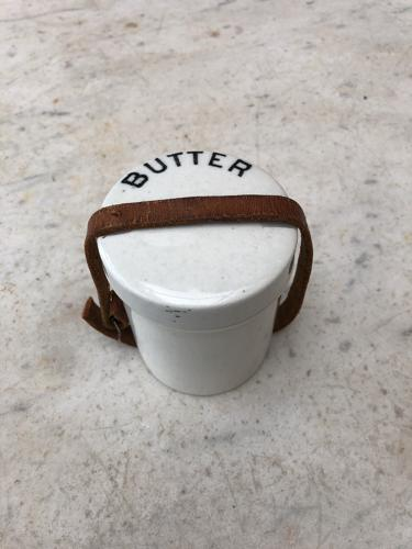 Edwardian Butter Pot with Original Leather Strap