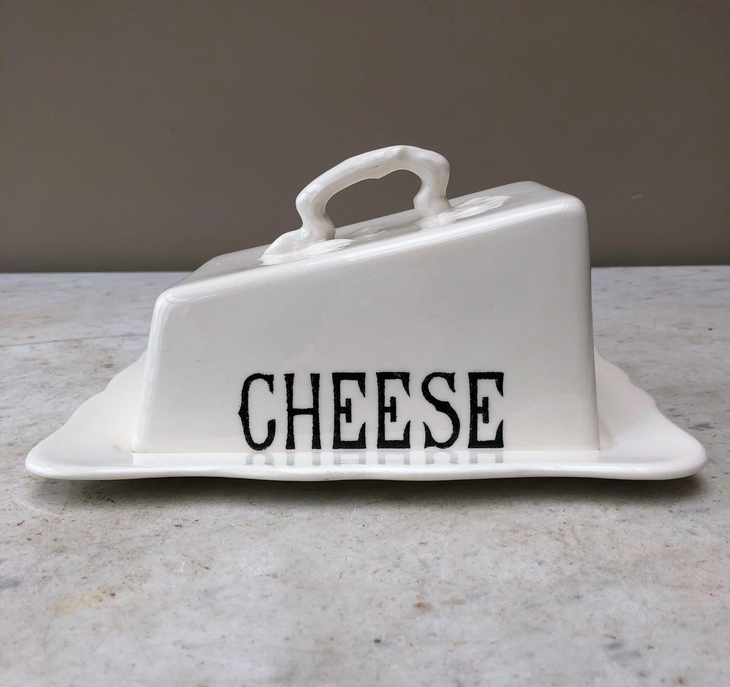 Mid Century White Ironstone Cheese Dish - Masons