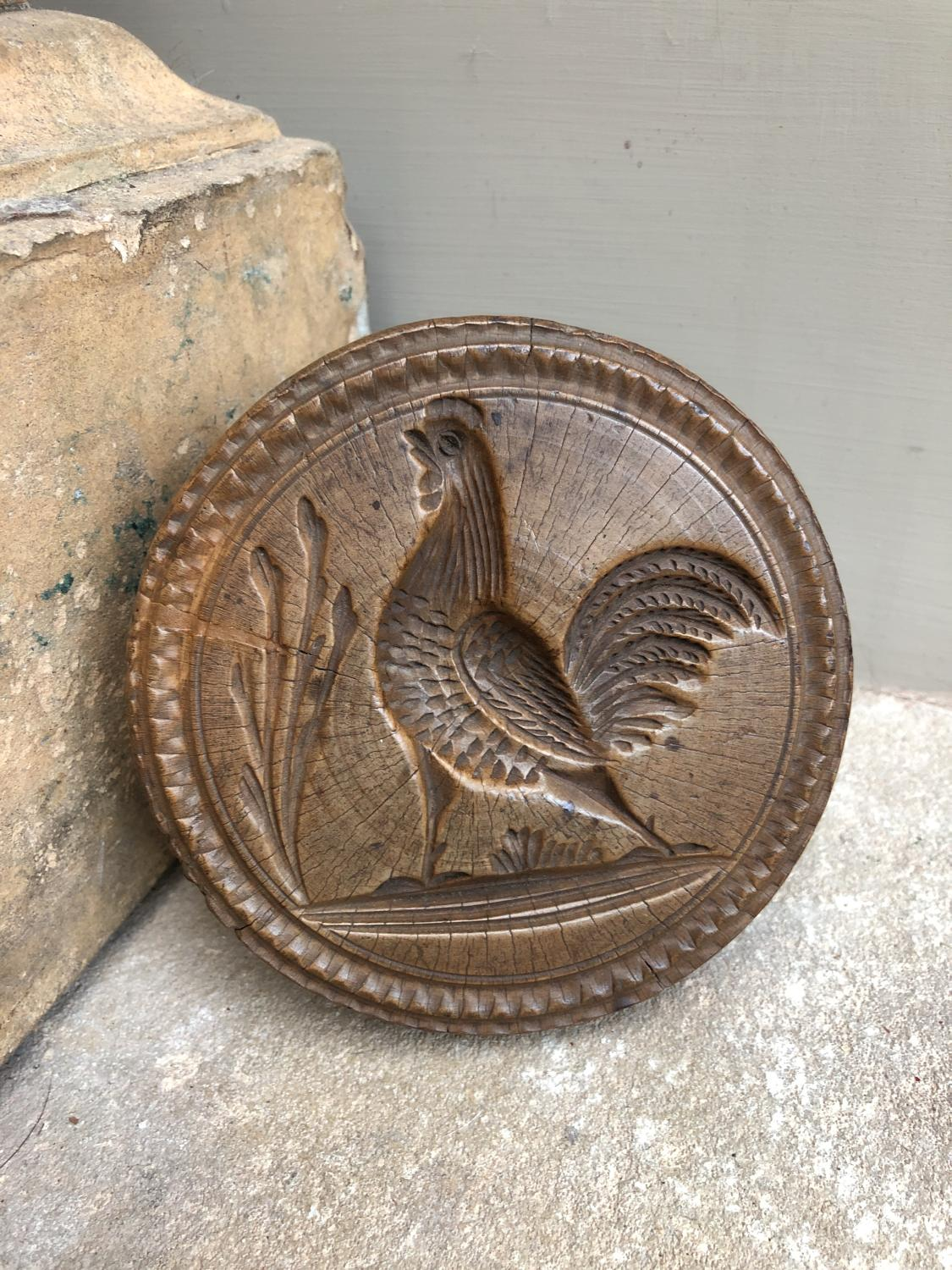 Superb Large Victorian Treen Butter Stamp - Rare Cockerel