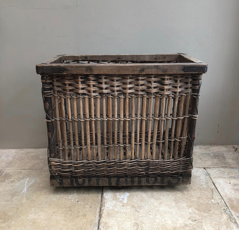 Superb Wooden Frame & Slatted Base Mill Basket On Industrial Castors