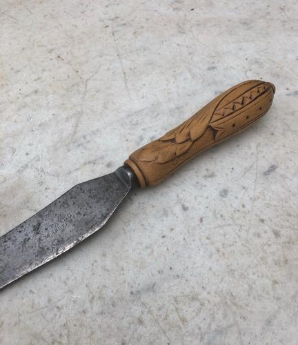 Victorian Bread Knife with Carved Handle