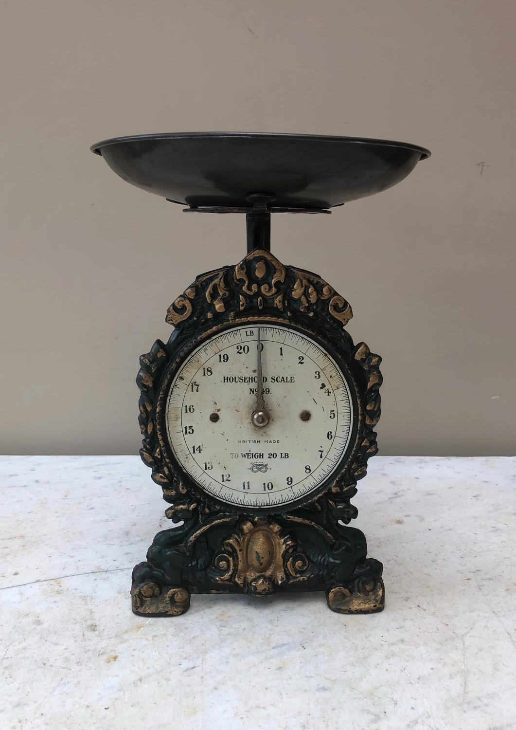 Edwardian Cast Iron Household Scales - To 20lb
