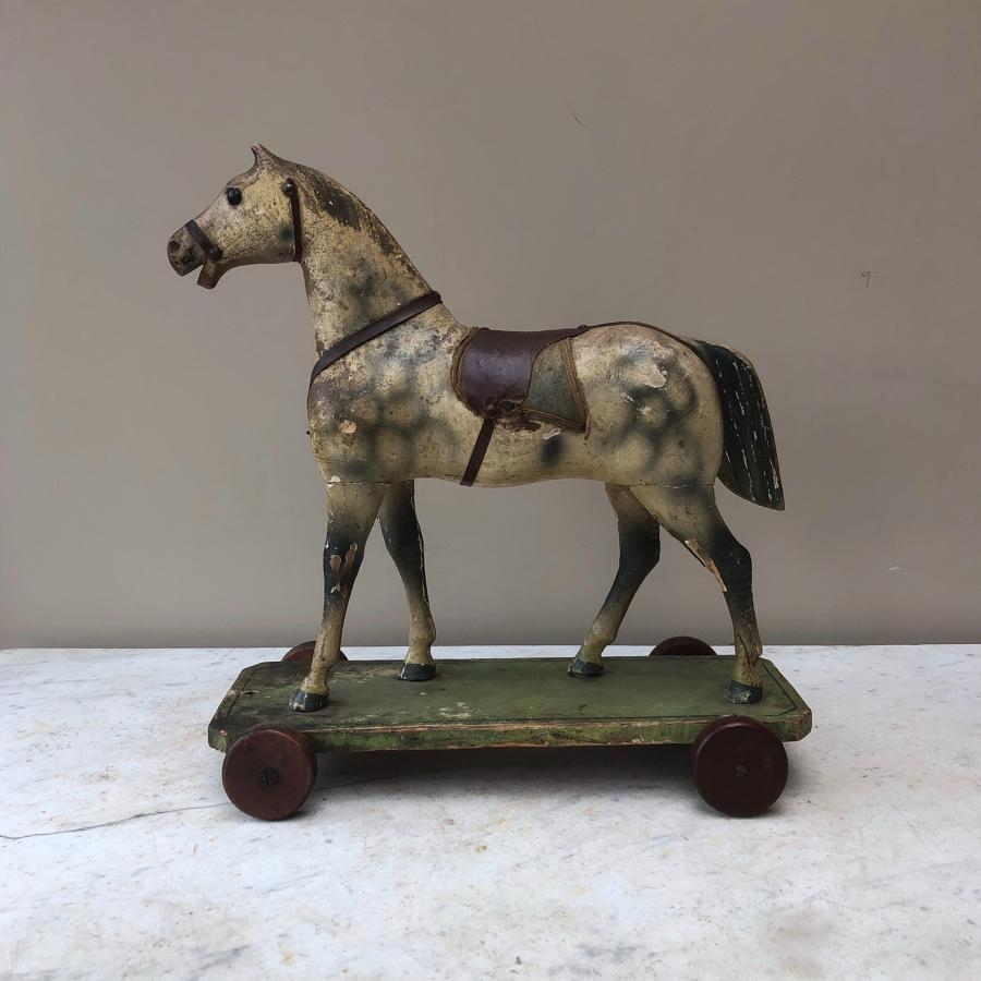 Superb Edwardian Painted Pine Toy Horse - Bernhard Keilich Label