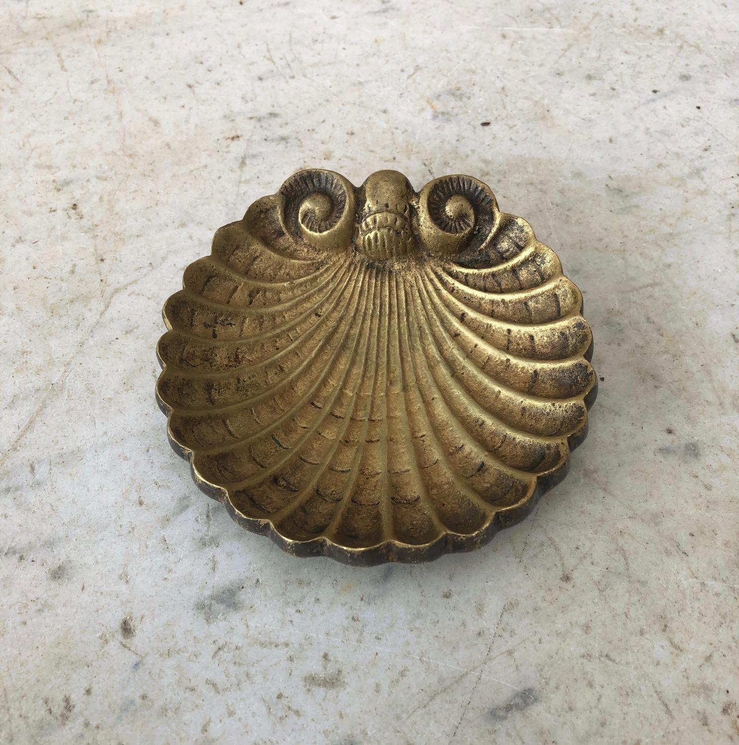 Mid Century Gilt Alloy Decorative Shell Dish