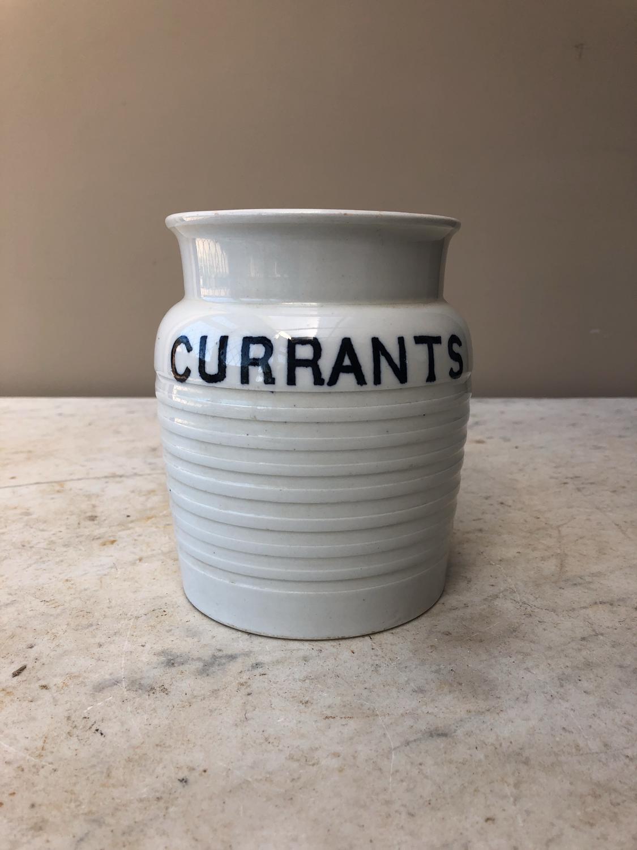 Edwardian White Banded Kitchen Storage Jar - Currants