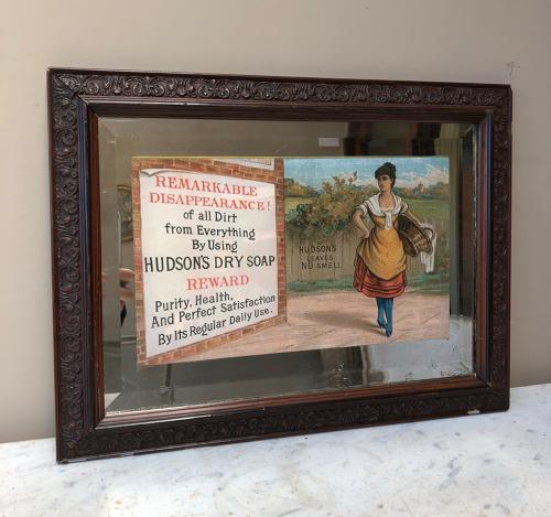 Rare Edwardian Pictorial Advertising Mirror - Hudsons Dry Soap