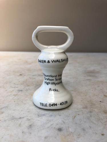Rare Ceramic Advertising Bell Weight - Scale Makers Baker & Walsh Ltd