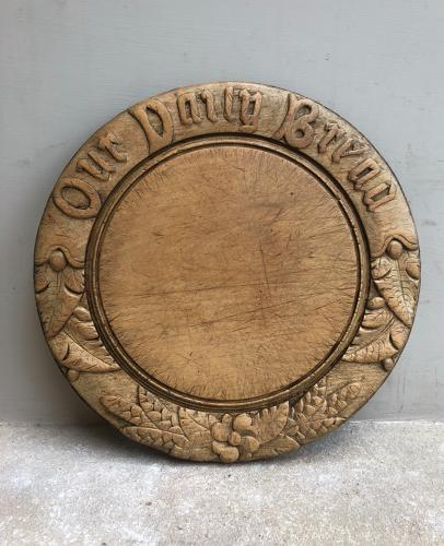 Victorian Deeply Carved Bread Board - Our Daily Bread
