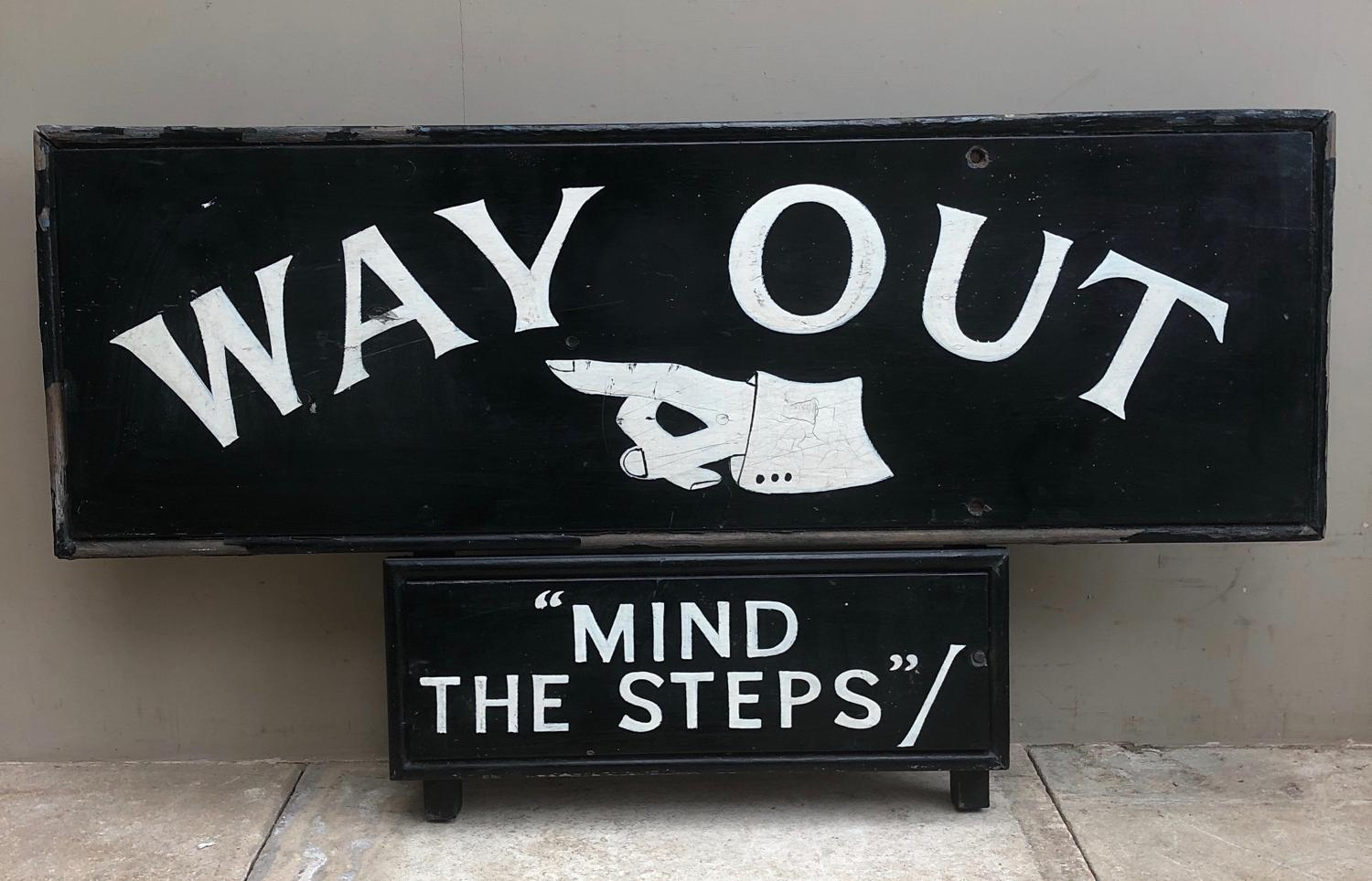 Large 1930s Painted Pine Sign from London Swimming Baths - Way Out