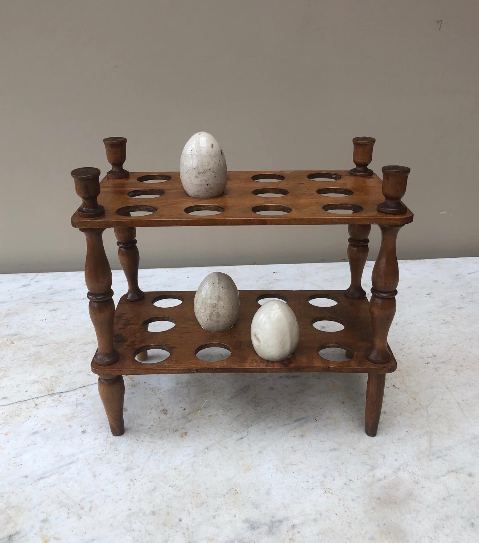 Victorian Treen Two Tier Egg Rack - Two Dozen Eggs.