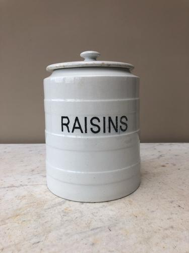 Large Edwardian White Banded Kitchen Storage Jar - Raisins - 6 Pounds