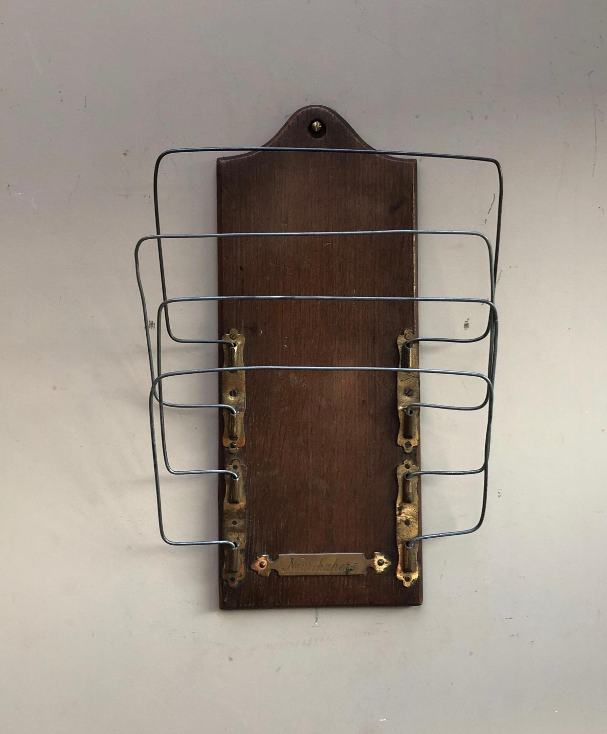 Early 20th Century Oak Wall Hung Newspaper Rack - Brass Plaque