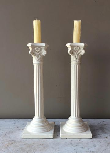 Pair of Antique White Ceramic Column Candlesticks