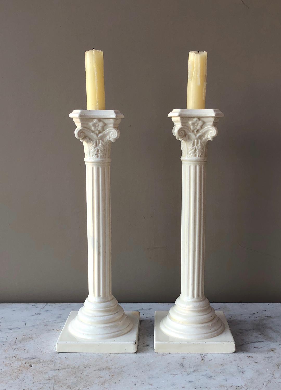 Pair of Antique White Ceramic Column Candlesticks