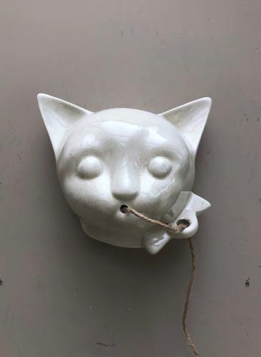 Unusual 1930s White Ironstone Wall Hung String Holder Dispenser - Cat