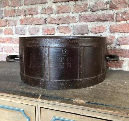 Superb Victorian Iron Bound Half Bushel Measure