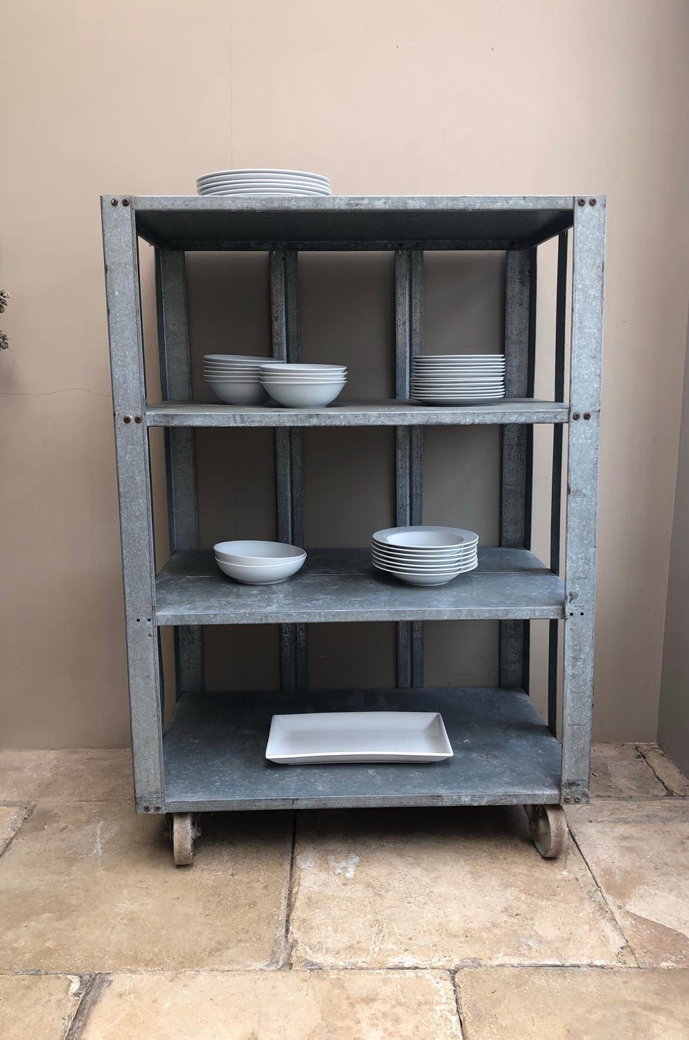 Industrial Galvanised Shelf Unit of Castors