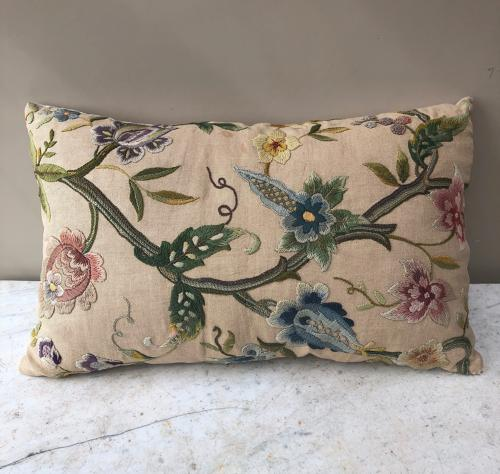 Victorian Crewel Work on Linen Cushion