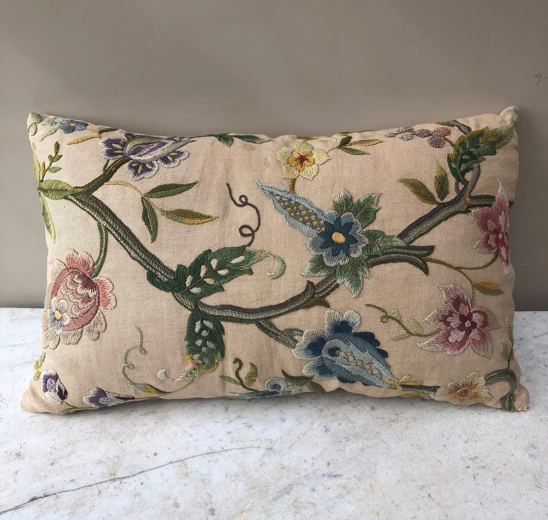 Victorian Crewel Work on Linen Cushion