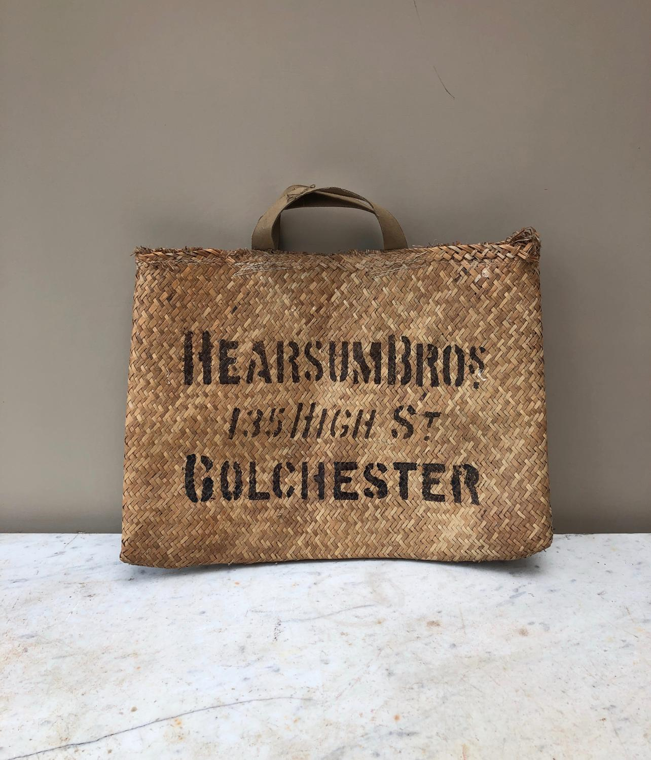 Early 20th Century Shops Advertising Woven Reed Basket Bag