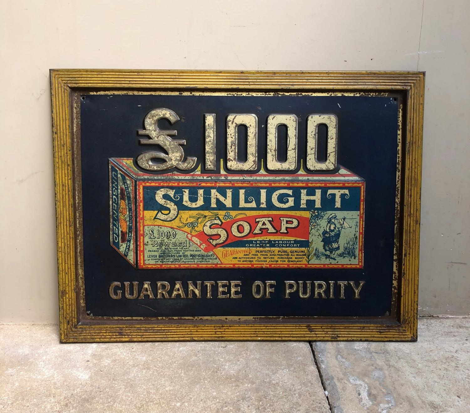 Rare Early 20th Century Tin Advertising Sign - Sunlight Soap