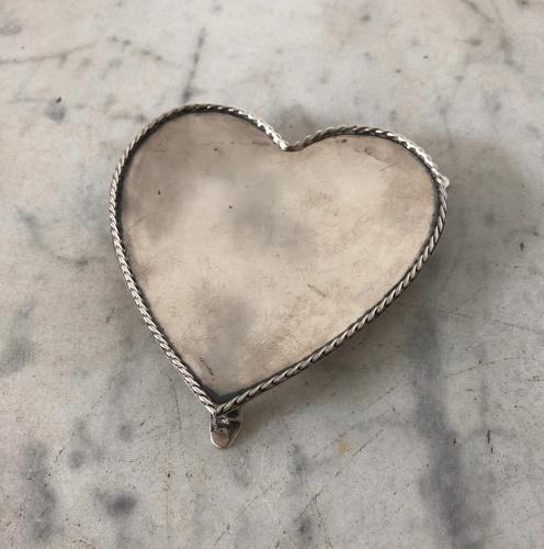 Solid Silver Heart Pin Tray - Hallmark 1920