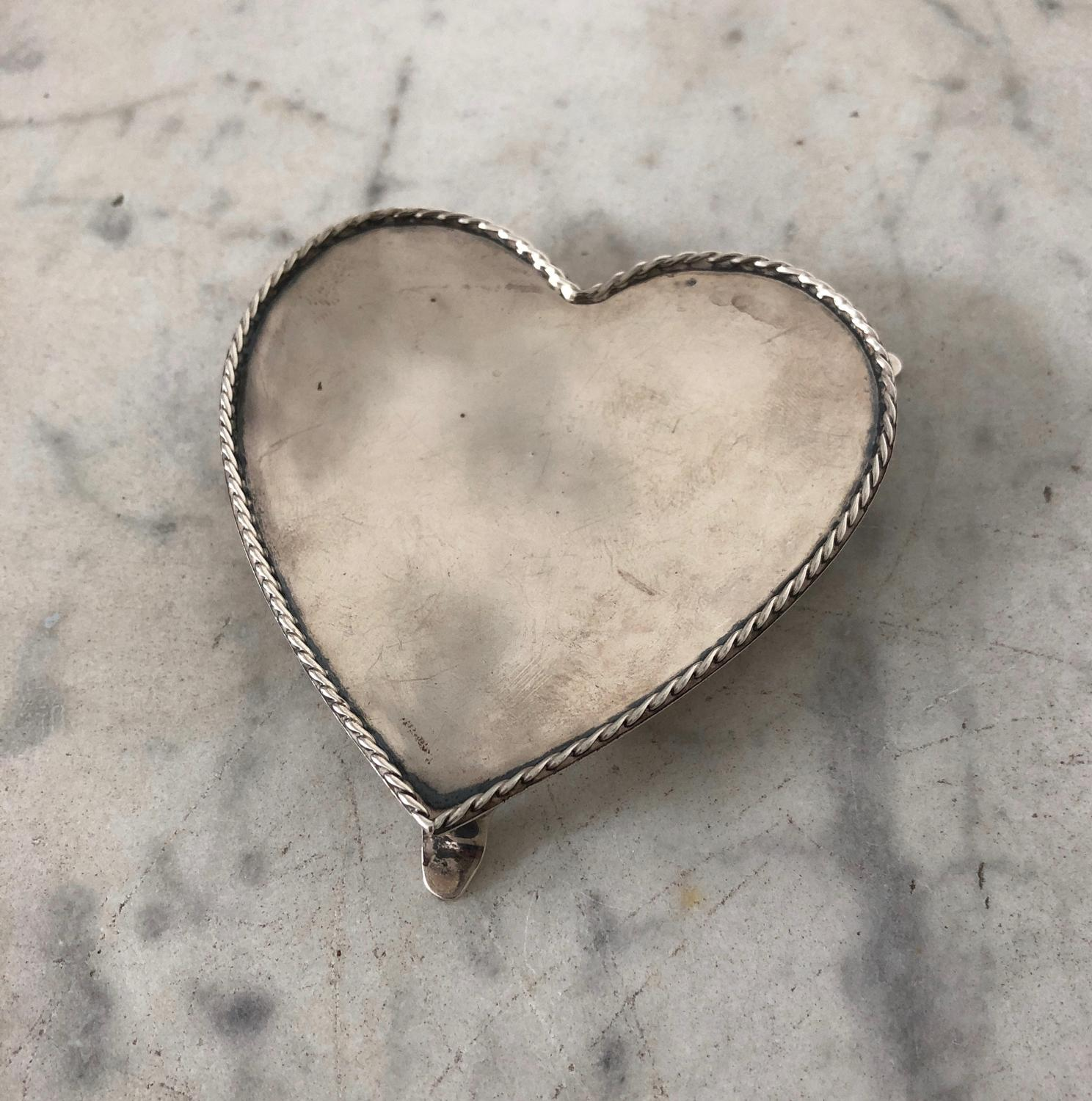 Solid Silver Heart Pin Tray - Hallmark 1920