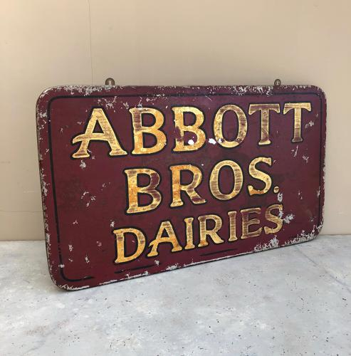 Early 20th Century Tin & Wood Dairy Sign - Abbott Bros Dairies