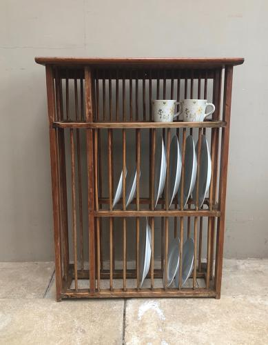 Antique Pine Plate Rack with Cup & Saucer Shelf