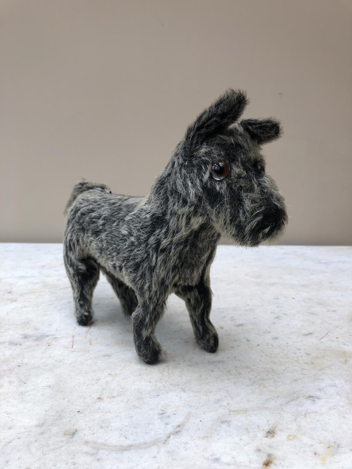 Antique Glass Eyed Straw Filled Terrier c.1920
