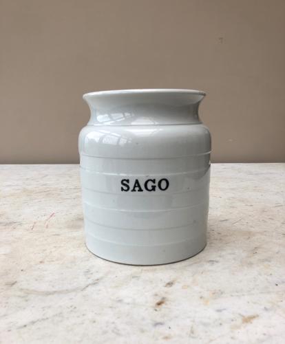 Early 20thC White Banded Kitchen Storage Jar - Sago