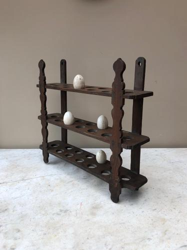 Large Victorian Elm Wall Hung Country House Egg Rack