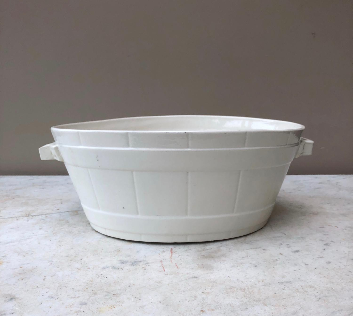 Edwardian White Banded Dairy Butter Bowl