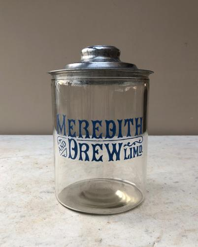 Edwardian Shops Counter Top Advertising Jar - Meredith & Drew Biscuits