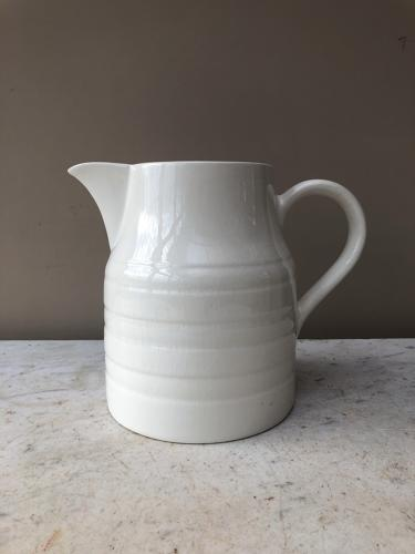 Large Early 20th Century White Banded Dairy Milk Jug