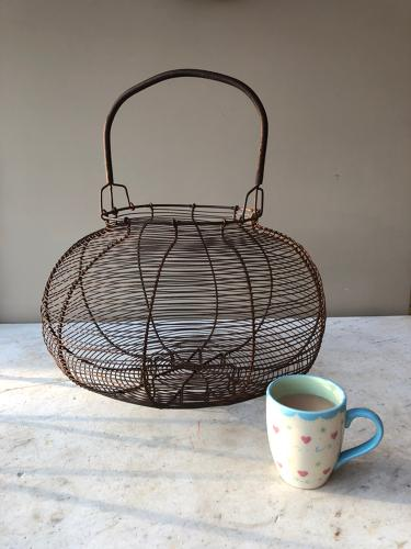 Huge Antique Wire Work Goose Egg Basket