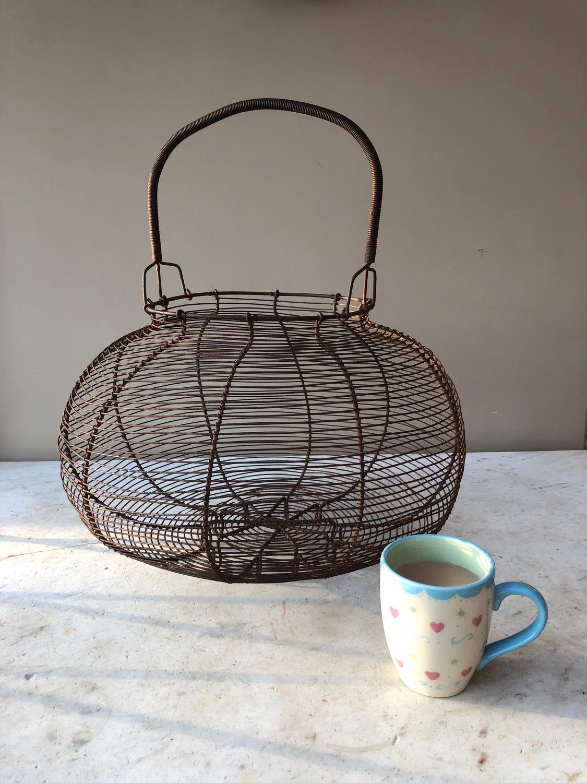 Huge Antique Wire Work Goose Egg Basket