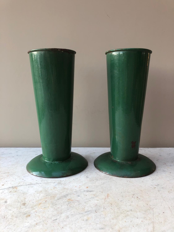 Pair of 1930s Enamel Florists Vases