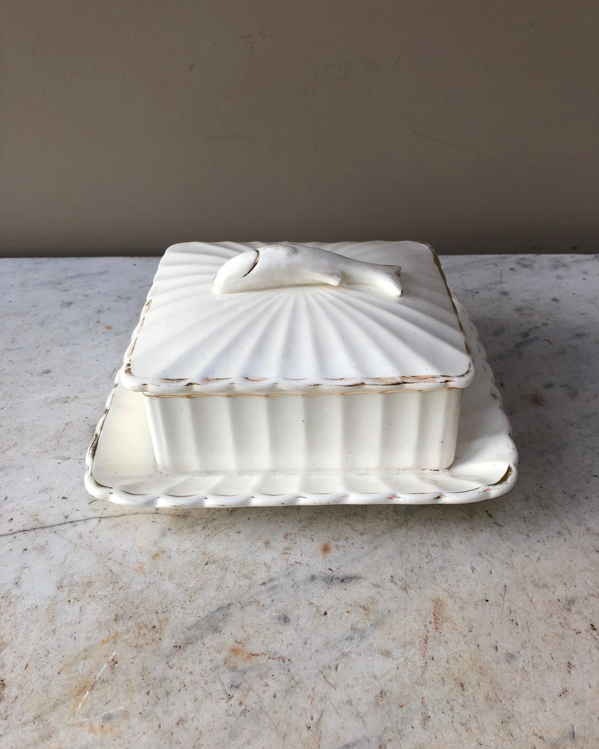 Early 20th Century White Sardine Dish