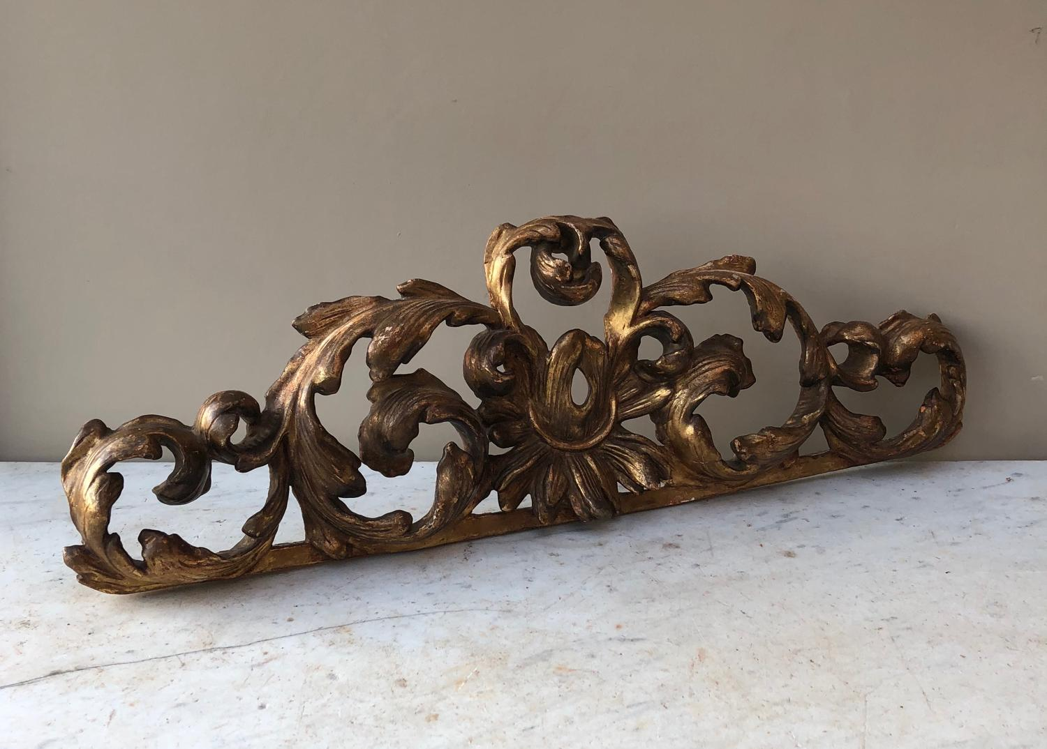 Georgian - Early Victorian - Carved Pine, Gilt Gesso Door Pediment