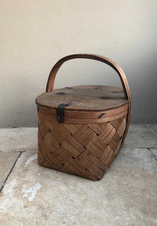 Large Antique Swedish Pine Basket