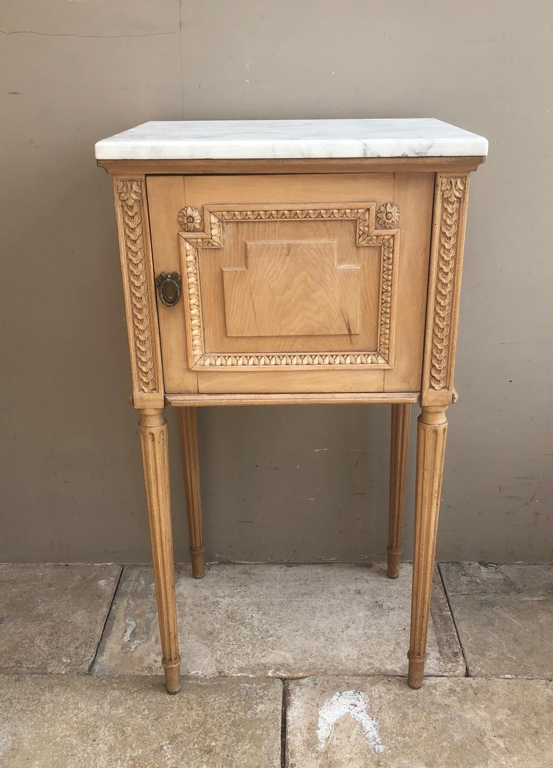 Victorian Pot Cupboard with Marble Top - Beautifully Carved with