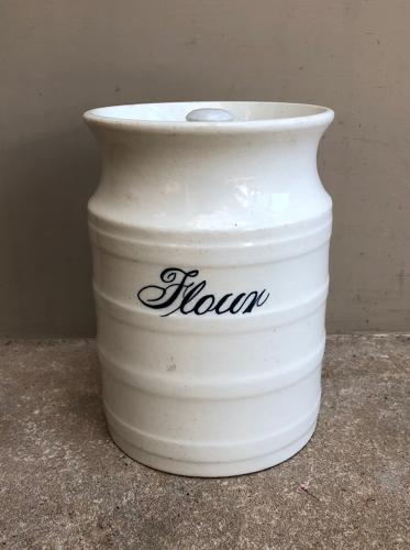 Late Victorian White Banded Kitchen Storage Jar - Flour