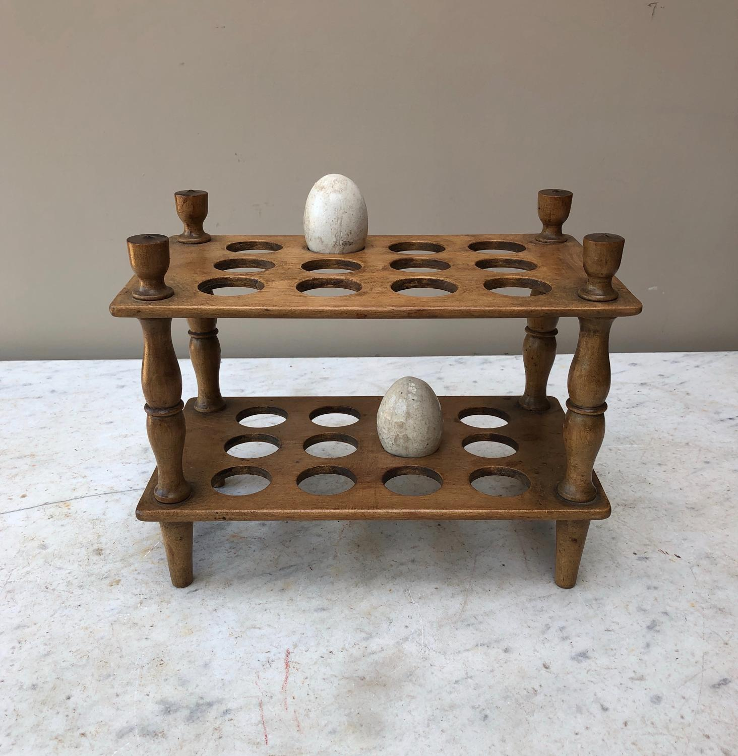 Superb Victorian Treen Two Tier Egg Rack