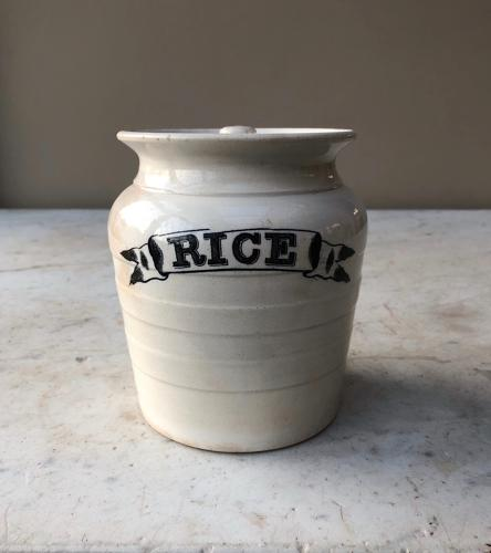 Victorian White Banded Ribbon Front Kitchen Storage Jar - Rice