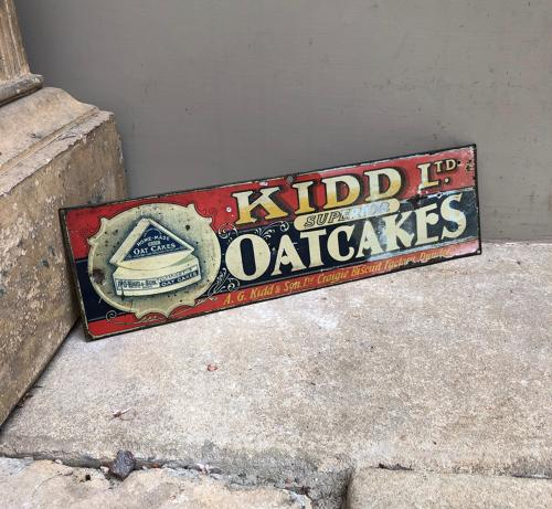 Rare Edwardian Grocers Tin Advertising Sign - Kidd Superior Oatcakes