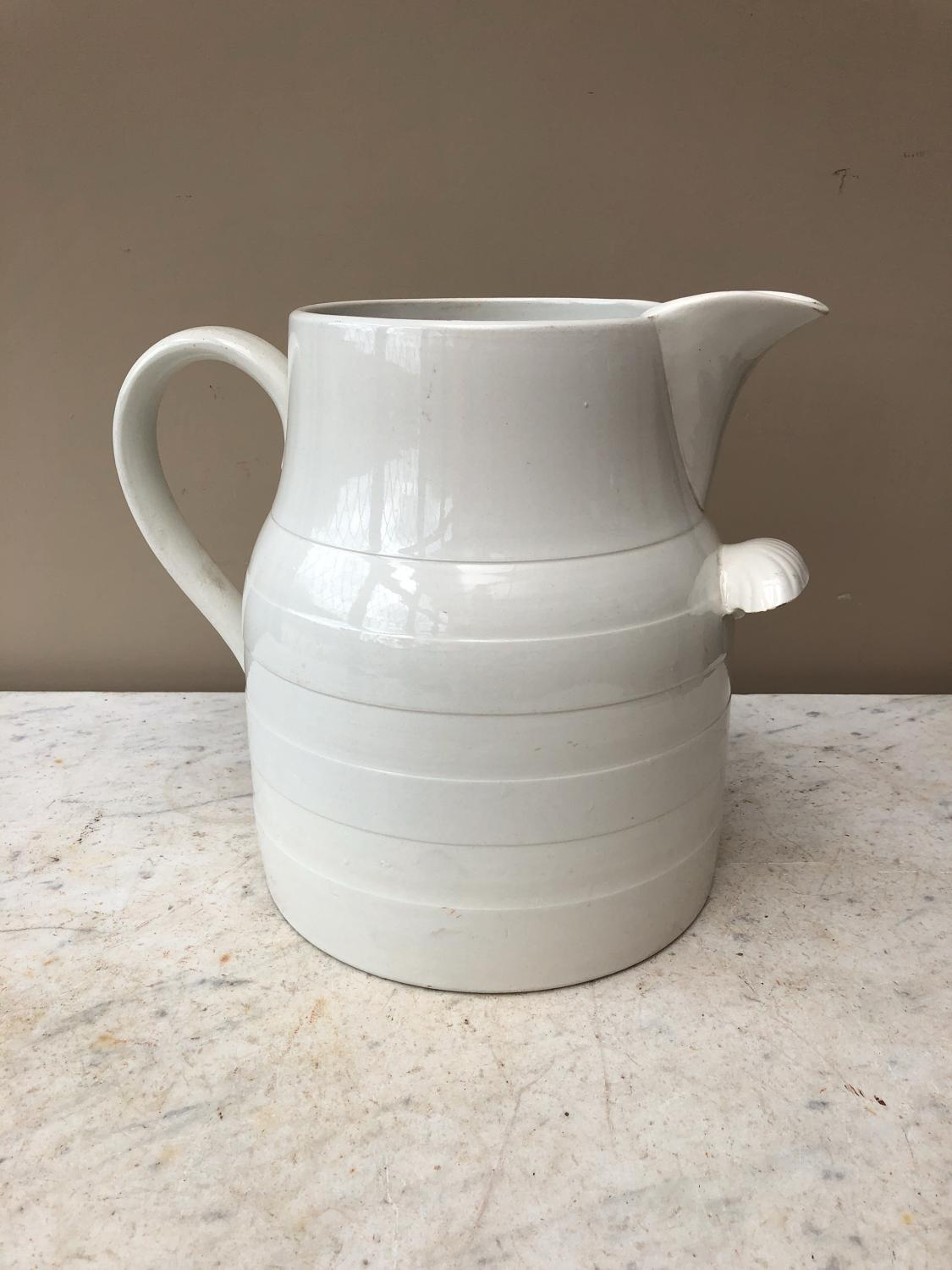 Huge Edwardian White Banded Jug