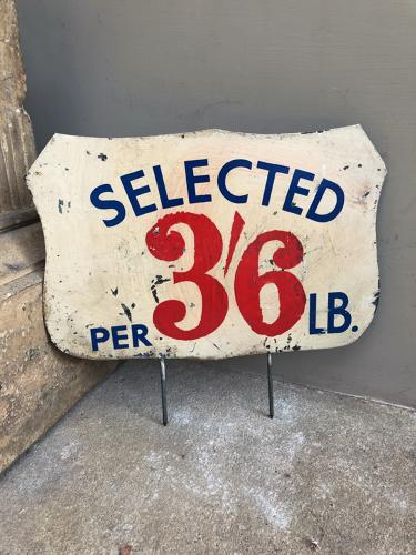 Huge Early 20thC Grocers Painted Tin Sign - Selected 3'6 Per LB