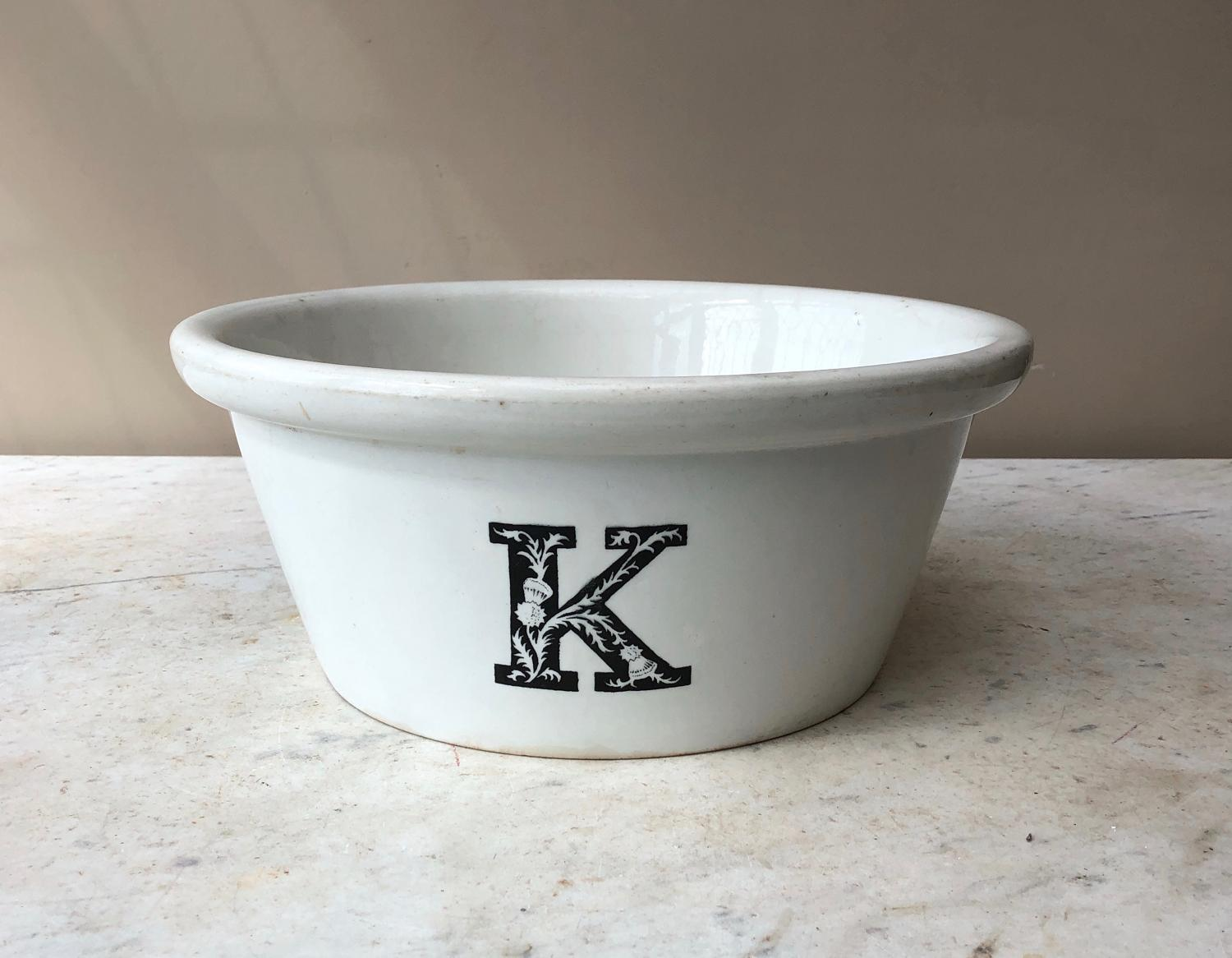 Edwardian White Ironstone K for Kitchen Bowl - Rare Thistle Pattern